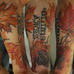 тату кленовые листья, тату осень